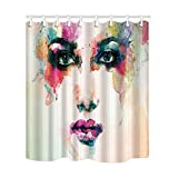 NYMB Watercolor Splashing Decor, Sex Girl Face Shower Curtain, Mildew Resistant Polyester Fabric Bathroom Bath Curtains Set with Hooks,69X70 inches (Multi21)