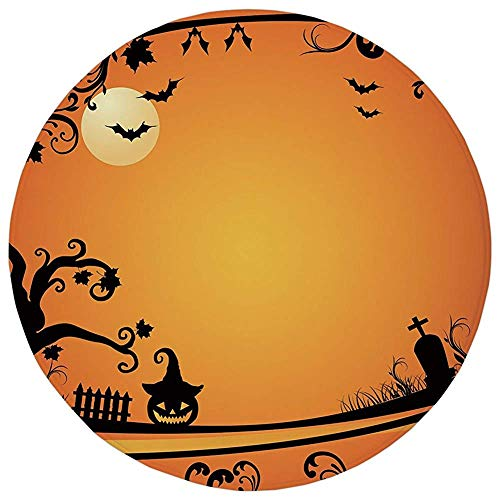 Round Rug Mat Carpet,Vintage Halloween,Halloween Themed Image Eerie Atmosphere Gravestone Evil Pumpkin Moon Decorative,Orange Black,Flannel Microfiber Non-slip Soft Absorbent,for Kitchen Floor Bathroo ()