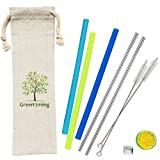 Reusable Summer Juice Travel Drinking Straw - 3 Straight Silicone Straws + 2 Stainless Steel Metal Straws with 2 cleaning brush Dishwasher straw (Deep blue, light bule, light Green)
