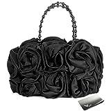 Missy K Satin Rose Handbag Purse, with Beaded Chain Handle, Black, kilofly Money Clip