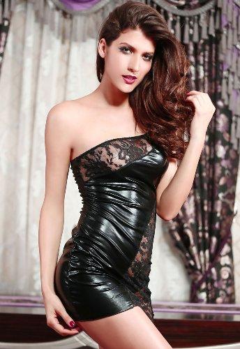 Très sexy en cuir noir Faux / PVC Empiècement en Dentelle Courtes Robe Taille 38-40 avec String