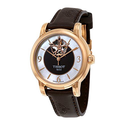 Mop Dial Rose (T050.207.37.117.04 Lady Heart Powermatic 80 Rose Gold Case Brown MOP Dial Watch with Brown Leather)