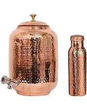 Kamel hantverk hamrad koppar vatten dispenser behållare kruka matka med matchande hamrad flaska (1 kopparbehållare och 1 kopparflaska)