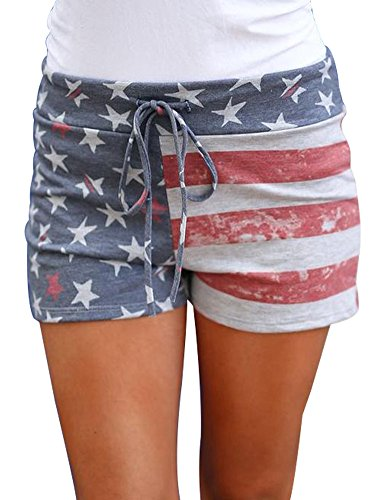 Flag Running Shorts - DUOLIFU Women Print Activewear Lounge Shorts with Pocket,USA American Flag,S