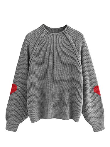 MakeMeChic Women's Cute Heart Print Knitted Sweater Raglan Sleeve Pullover Jumper Grey M