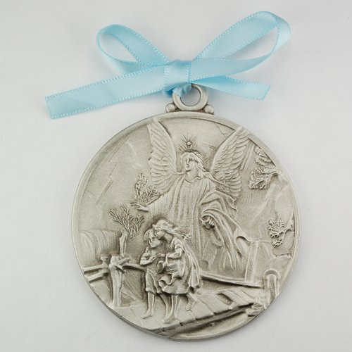 Guardian Angel Crib Medal Blue Ribbon Round 2 3/4 Great Gift great baptism christening gift keepsake gift ()