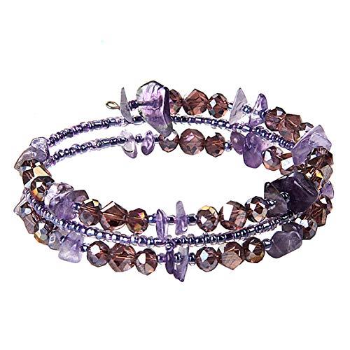lancy's jewelry Bracelets for Women Girls Exotic Ethnic Style Bracelet Meltilayer Purple Colored Stone Bracelet