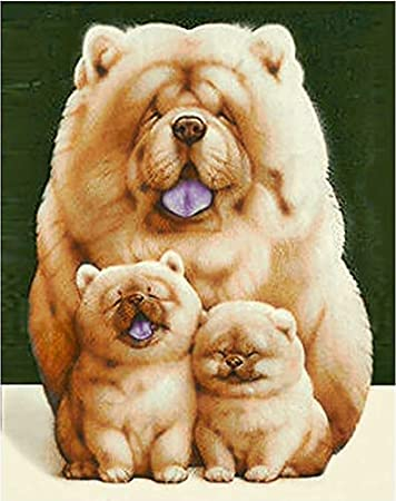 16 X 20 Inch Without Framed Chow Chow Dog Pet Dog Animal DIY Painting by Numbers for Adults and Kids Arts Craft for Home Wall Decor