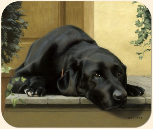 Black Lab on Porch Mouse Pad