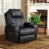 Esright Massage Recliner PU Leather Ergonomic Lounge Heated Chair 360 Degree Swivel (Black)