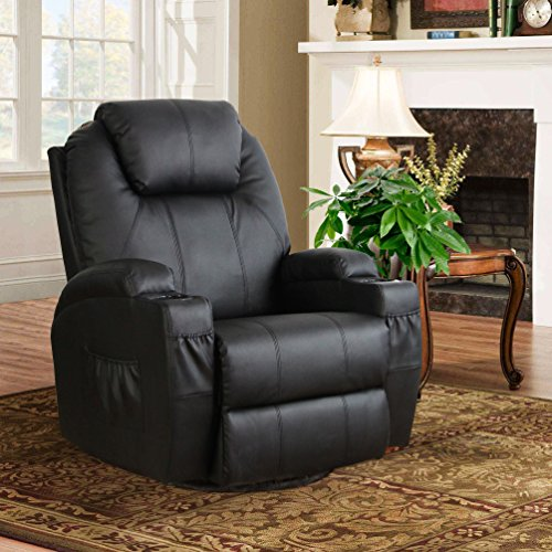 Esright Massage Recliner PU Leather Ergonomic Lounge Heated Chair 360 Degree Swivel Recliner (Black) Black Home Massage Chairs