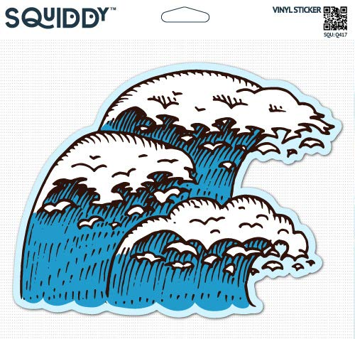 Squiddy Wave Surf Ocean - Vinyl Sticker - Large Size (12