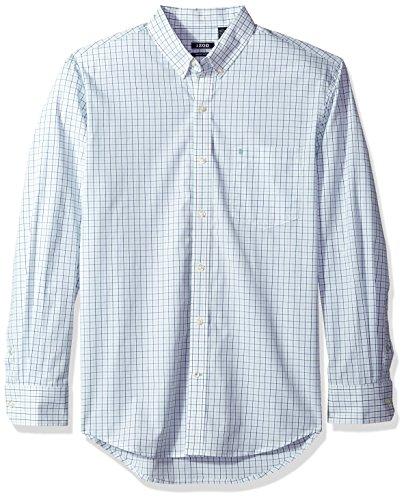 IZOD Men's Essential Tattersal Long Sleeve Shirt, Dusty Jade Green, Large (Dusty Green)