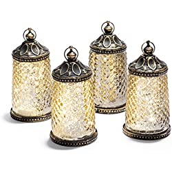 "Gold Mercury Glass Tabletop Lanterns - Set of 4, Warm White LED Lights, 5.5"" Height, Antique Bronze Accents, Battery Operated"