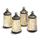 "Cheap Gold Mercury Glass Tabletop Lanterns – Set of 4, Warm White LED Lights, 5.5"" Height, Antique Bronze Accents, Battery Operated"