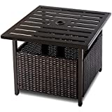 Giantex Patio Rattan Wicker Umbrella Side Table Stand with Umbrella Hole Steel Outdoor Deck Garden Pool, Brown