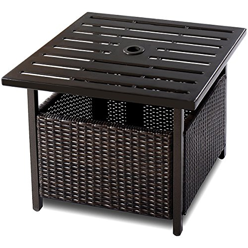 Wicker Umbrella Side Table Stand with Umbrella Hole Steel Outdoor Deck Garden Pool, Brown ()