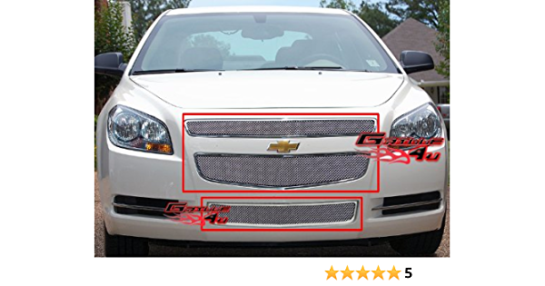 APS Compatible with 2008-2012 Chevy Malibu Stainless Steel No Frame Black Mesh Grille Insert S18-G08767C