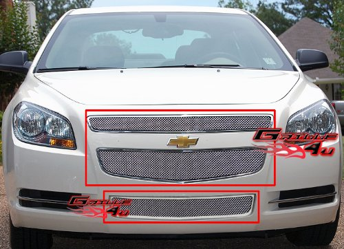 (APS Compatible with 2008-2012 2011 2012 Chevy Malibu Stainless Mesh Grille Grill Combo Insert #C71015T)