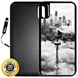 Custom iPhone X/XS Case (Seattle Space Needle Tower) Edge-to-Edge Rubber Black Cover with Shock and Scratch Protection | Lightweight, Ultra-Slim | Includes Stylus Pen by INNOSUB