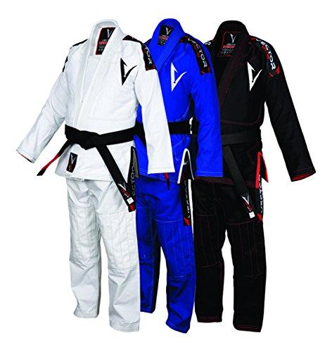 Vector Sports Lightweight Pearl Weave Brazilian Jiu Jitsu BJJ Gi Kimono Preshrunk 100% Cotton Fabric Attila Series (White, A2)