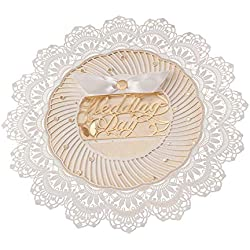 12X WISHMADE Lace Tempatation White Laser Cut Round Wedding Invitation with Envelope Handmade Ribbon CW5077