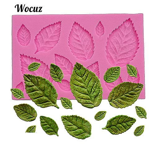 Wocuz Mini Rose Flower Leaves Vein Silicone Mold Gum Paste Fondant Mold Cake Border Cupcake Silicone Lace Mat Mold Decoration Tool, 3.9