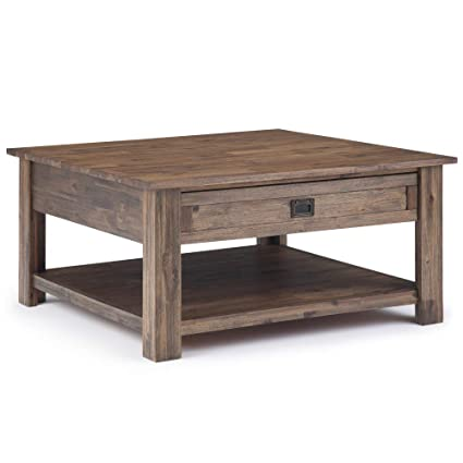 0f359aafed194 Amazon.com  Simpli Home AXCMON-02-RNAB Monroe Solid Acacia Wood 38 inch Wide  Square Rustic Contemporary Square Coffee Table in Rustic Natural Aged  Brown  ...