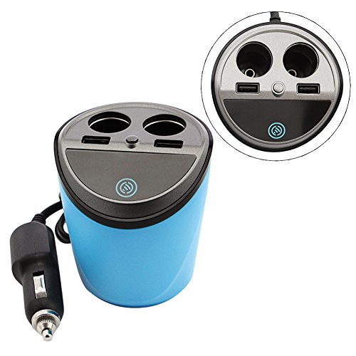 Car Cup Charger with 2 USB Ports and 2 Cigarette Lighters Plugs, Multi-functional Cup Holder Power Adapter, Switch on Buttons, LED Display, for Android, Apple, Samsung and Windows Mobile Devices, Blue