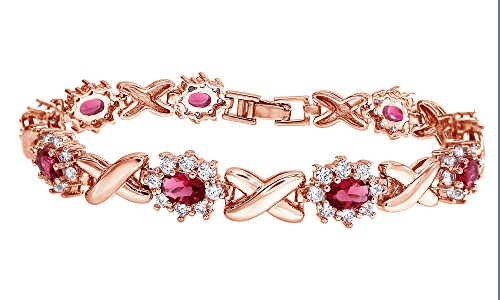 Jewel Zone US Simulated Pink Ruby and Cubic Zirconia Link Womens XO Bracelet in Rose Gold Over Brass -7