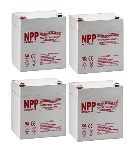 NPP High Rate HR1222W 12V 5Ah SLA Sealed Lead Acid UPS Battery With F2 Style Terminals / 4 Pack