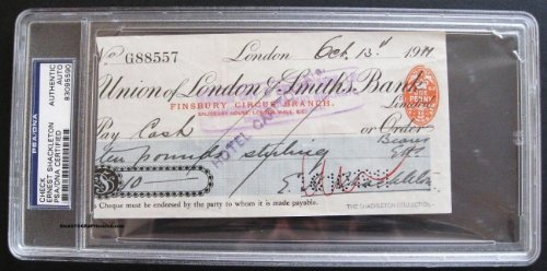 Ernest Shackleton Signed Check