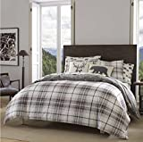 2 Piece Bold Plaid Pattern Duvet Cover Set Twin Size, Featuring Bear Deer Animal Print Reversible Design Comfortable Bedding, Stylish Country Lodge Inspired Bedroom Decoration, Grey, Red, White, Multi