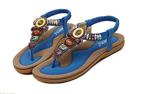 Women Bohemia Style Sling Sandals Flower Beads T-Strap Flip Flop Flats Slip On Thong Refreshing Shoes (Retro Blue, 11 B(M) US/42EU)