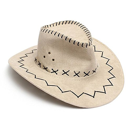b7d914bc71f Image Unavailable. Image not available for. Color  SODIAL Retro Unisex  Denim Wild West Cowboy Cowgirl Rodeo Fancy Dress Accessory Hats beige