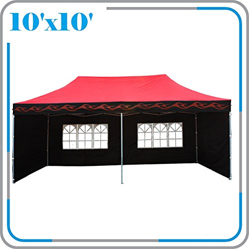 DELTA Canopies 10'x20' Ez Pop up Canopy Party Tent Instant Gazebo with 6 Removable Sides Red Flame - E Model