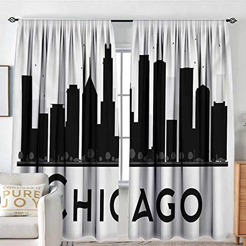 Petpany Rod Pocket Curtains Chicago Skyline,Simplistic Urban Silhouette Tourism Downtown Business City Buildings,Black and White,Insulating Room Darkening Blackout Drapes for Bedroom 120