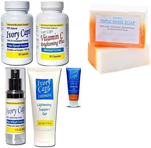 Ivory Caps Skin Whitening Lightening Super Pack (Complete Set of Skin Care) + Glutathione Triple White Soap