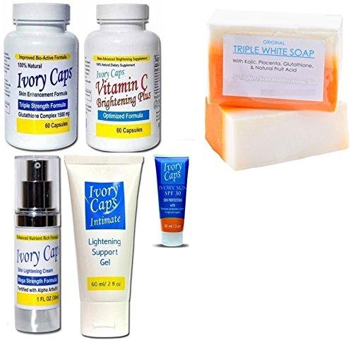Ivory Caps Skin Whitening Lightening Super Pack Complete
