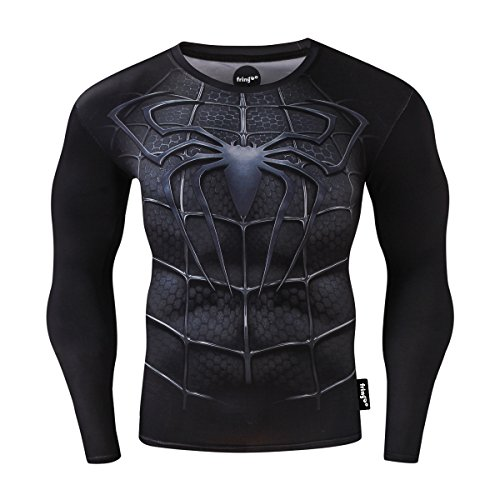 Fringoo® Sudadera térmica de manga larga para hombre, de compresión, superhéroe, para gimnasio, para correr, para…