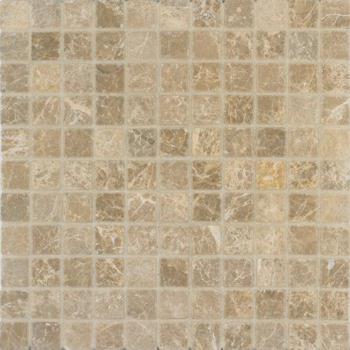 Arizona Tile 12 by 12-Inch Mosaic Made from 1 by 1-Inch Tumbled Marble Tiles, Emperador Light, -