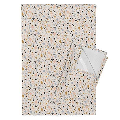 Roostery Terrazzo Tea Towels Terrazzo Terrazzo Coral Gold Terrazzo Stones Gems Quartz Cream Coral Gray Terrazzo Stone Marble by Kimsa Set of 2 Linen Cotton Tea ()