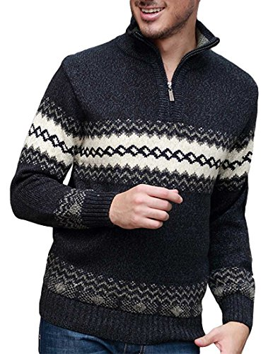 Nidicus Mens Half Zipper High Collar Wave Printed Wool Blend Knit Sweater Navy Blue S by Nidicus