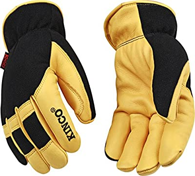 Kinco 101HK-M-1 Grain deerskin palm, Finger tips & knuckles, Form fitting spandex fabric back, Heatkeep thermal lining, Size: M