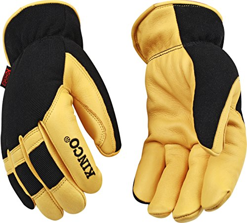 Kinco 101HK-M-1 Grain deerskin palm, Finger tips & knuckles, Form fitting spandex fabric back, Heatkeep thermal lining, Size: (Supple Tip)