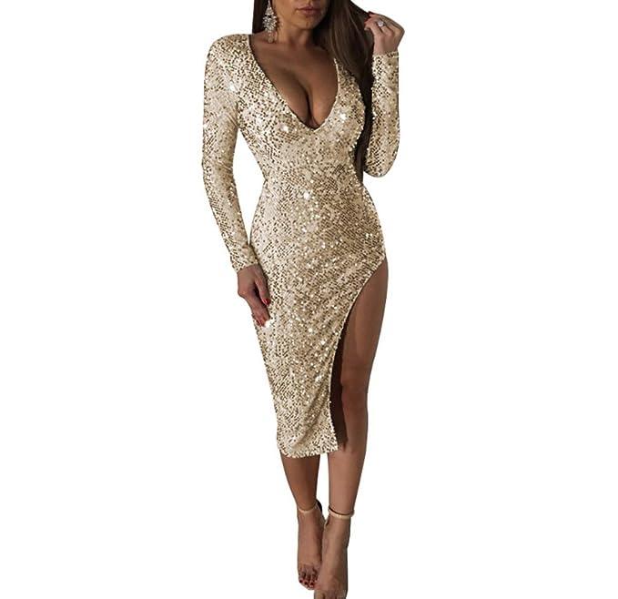 YL Style Vestido con Lentejuelas para Mujer - Vestido Festivo con Abrigo Vestido de Noche Vestido de cóctel de Dama de Honor de Navidad: Amazon.es: Ropa y ...