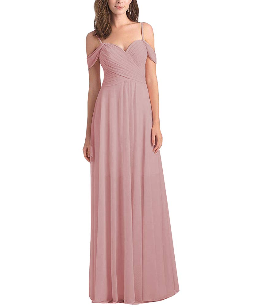 c6d236e654f Women s Sweetheart Long Bridesmaid Dress Off The Shoulder A Line Pleated Formal  Evening Party Dress Dusty Rose Size 10