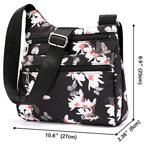 STUOYE Pocket Women Travel for Nylon Crossbody Shoulder Multi Magnolia Purse Bag Flower Bags ZEanxqZrpw