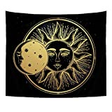 QOGiR Bohemian Tapestry Wall Hanging Cute Moon Practice of Yoga Solar Eclipse Throw BedSpread Home Decor Large Wall Art 51''X59''