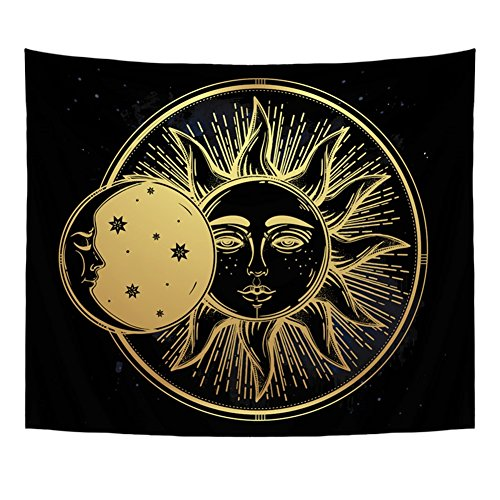 Qogir Bohemian Tapestry Wall Hanging Cute Moon Practice of Yoga Solar Eclipse Throw BedSpread Home Decor Large Wall Art 51